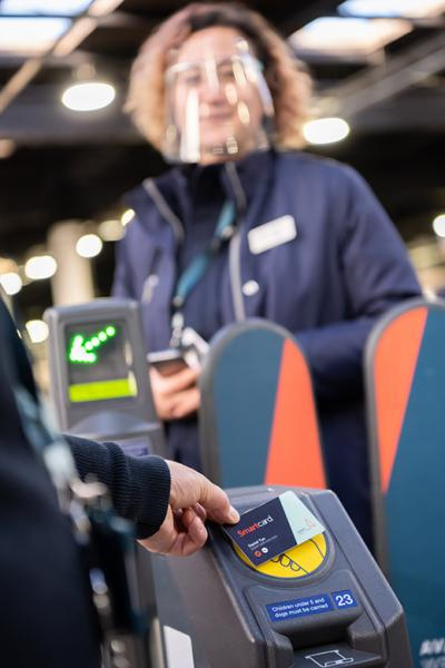 Smart card at ticket barrier