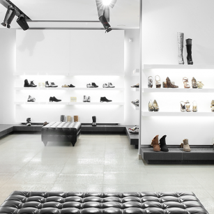 Luxury bags and shoes in retail store