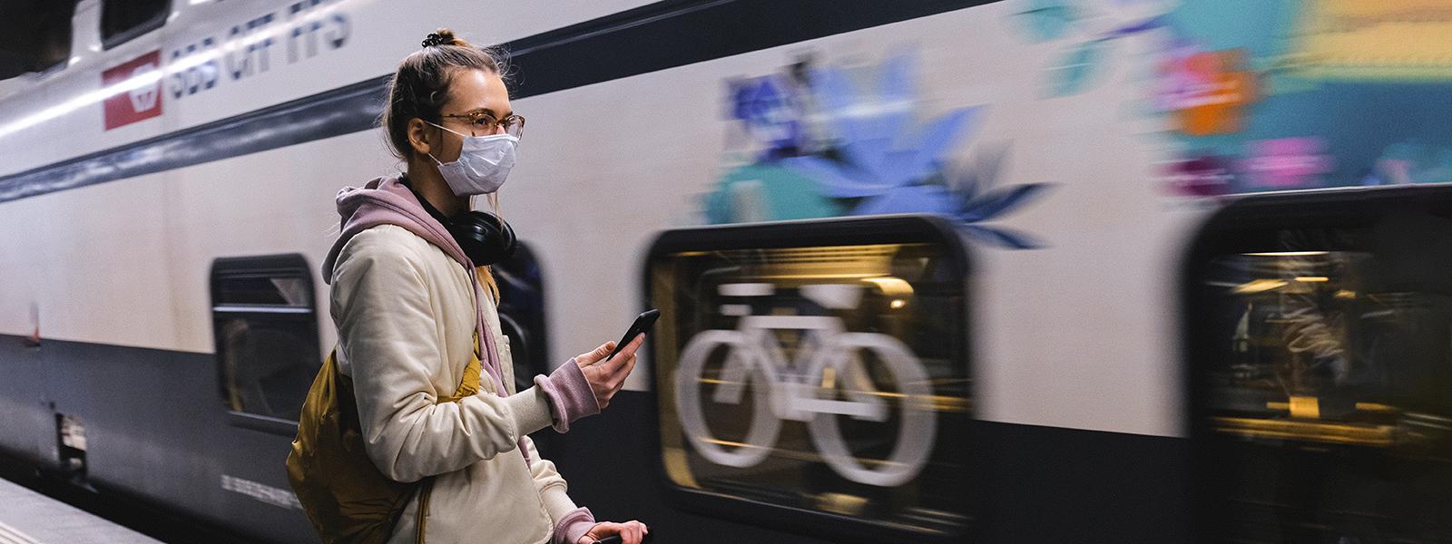 Protective face masks coronavirus on public transport