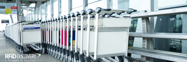 trolleys lined up at airport