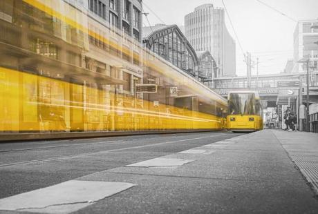 tram in city - our magnetic tickets, contactless tickets, smartcards, NFC tags and our secure services offering provide a true answer to Smart Cities' challenges